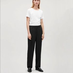 COS Relaxed Straight-leg Silk Trousers In Black
